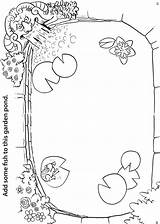 Pond Coloring Activity Garden Activities Pages Worksheets Worksheet Sheet Finish Fish Animals Habitat Sheets Theme Unit Printable Preschool Own Water sketch template