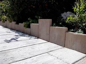 Bordure De Jardin : bordure pierre planche bois blanchi ~ Melissatoandfro.com Idées de Décoration
