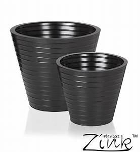 Cache Pot Noir : cache pot noir stri rond en acier d 35 cm 34 99 ~ Teatrodelosmanantiales.com Idées de Décoration