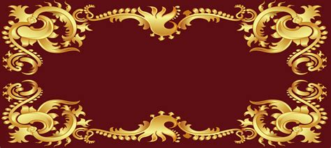 gold frame banner background golden frame red