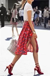 la jupe mi longue une tendance de lete 2015 With robe de cocktail combiné avec bracelet montre cuir gris