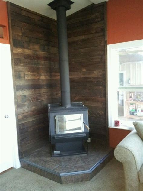 fireplace backing pallet wall wood stove to diy