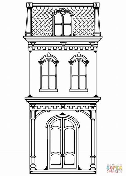 Coloring Victorian Pages Row Colouring Printable Clip