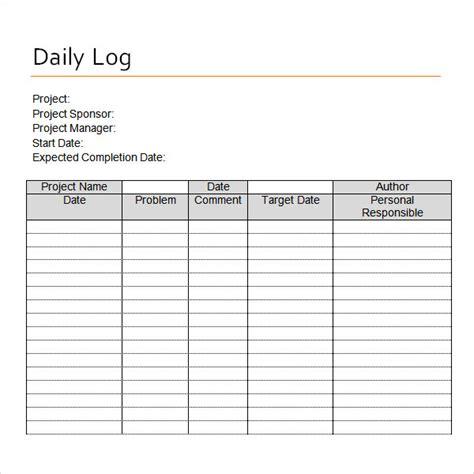 daily log 16 sle daily log templates pdf doc sle templates