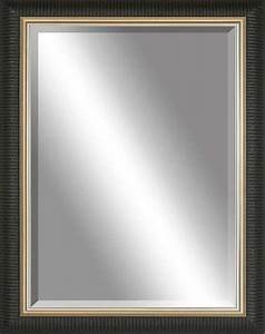Beveled mirror ribbed black gold inlay contemporary