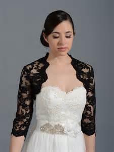 bridesmaid jackets black 3 4 sleeve alencon lace bolero with keyhole back