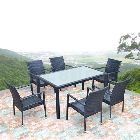 outdoor wicker dining set glass table stackable chairs