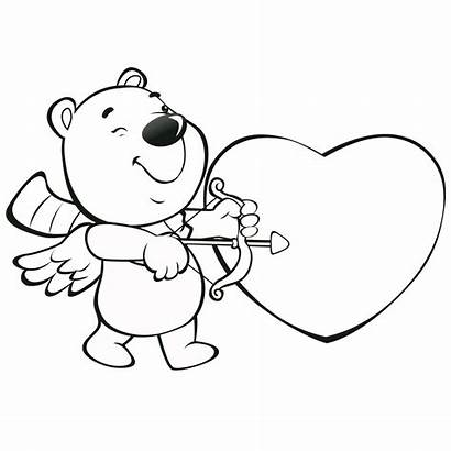Valentine Coloring Heart Bear Pages