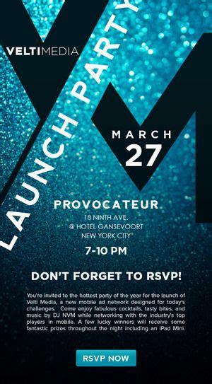 velti media launch party invitation  branding room