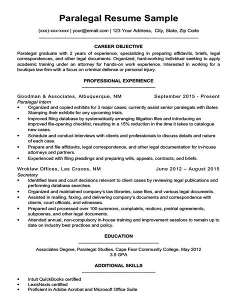 Personal Injury Paralegal Resume Sle by Paralegal Resume Sle Writing Tips Resume Companion