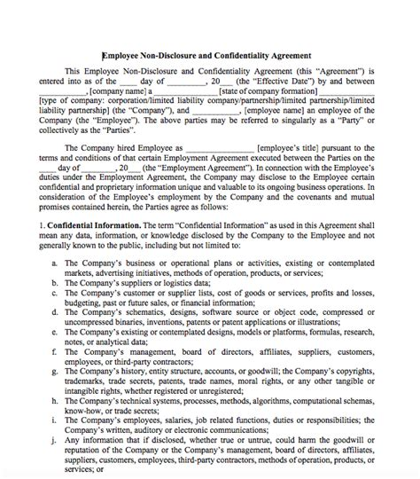 Non Disclosure Agreement For Employees  Top Form