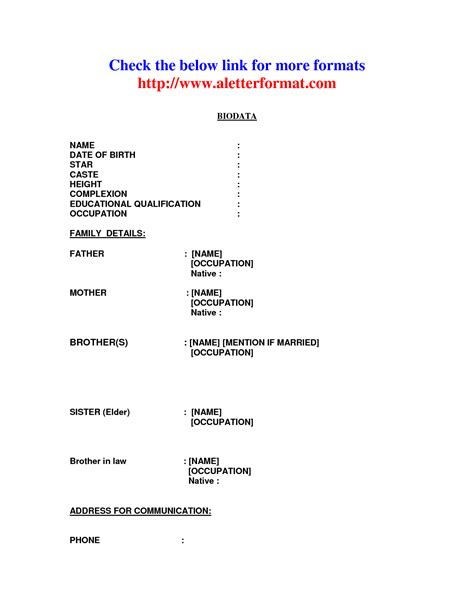 Marriage Resume Format For Boy by Biodata Format For Marriage For Boy