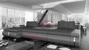 Canape d39angle convertible simili cuir et tissu klaus for Tapis design avec canapé mousse haute résilience