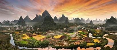 Guilin Beaux Paysages Chinois Atterrir Legendaire Ville