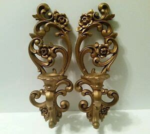 gold wall sconces for candles vintage homco wall sconces gold candle holders pair ebay