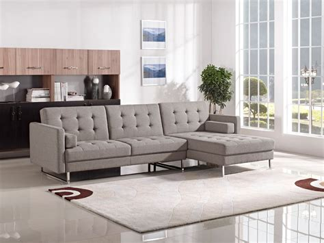 New Sectional by Divani Casa Smith Modern Brown Fabric Sectional Sofa Bed