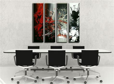 Home Decor Paintings 3 Panel Classic Paris Oil Painting On: Hand-painted Modern Abstract Red Black Painting 4 Piece
