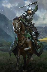 m Fighter Plate Armor Helm Sword Horseback farmland hills ...