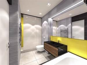 salle de bains jaune 64 idees qui vont vous faire craquer With quelle couleur avec le jaune moutarde 18 meuble rangement salle de bain blanc