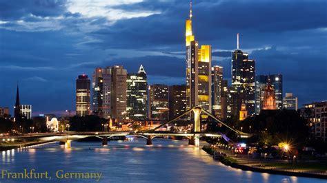 frankfurt germany subway ride city stroll night skyline