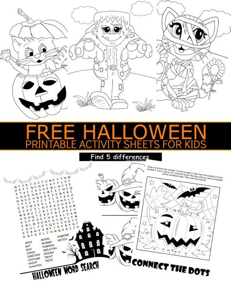 free halloween printable activity sheets for kids activity sheets for kids halloween