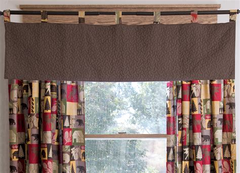 lodge patchwork quilted brown valance