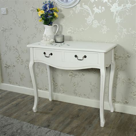 shabby chic white console table white console table 2 drawes bland handles french country shabby chic distressed