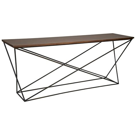 wood metal console table madden industrial loft x base wood metal console table