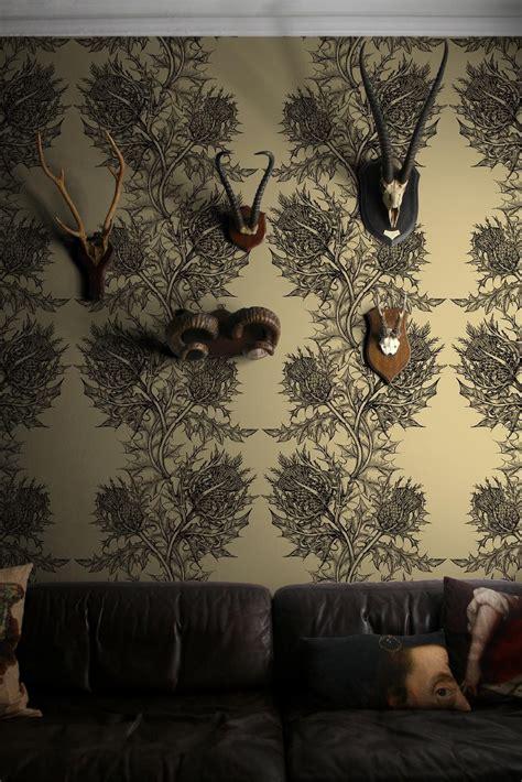 timorous beasties wallcoverings thistle wallpaper