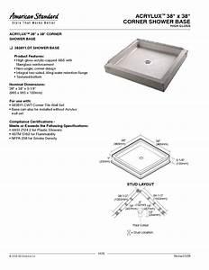 Acrylux 38 U0026quot  X 38 U0026quot  Corner Shower Base 3838y1 Dt Manuals