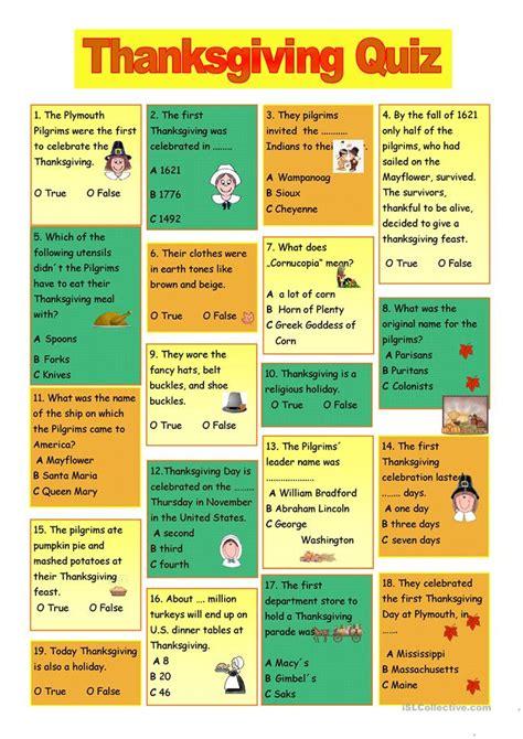 thanksgiving quiz worksheet  esl printable