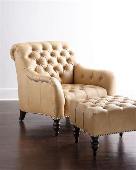 Tufted Chair And Ottoman - brady tufted leather chair ottoman