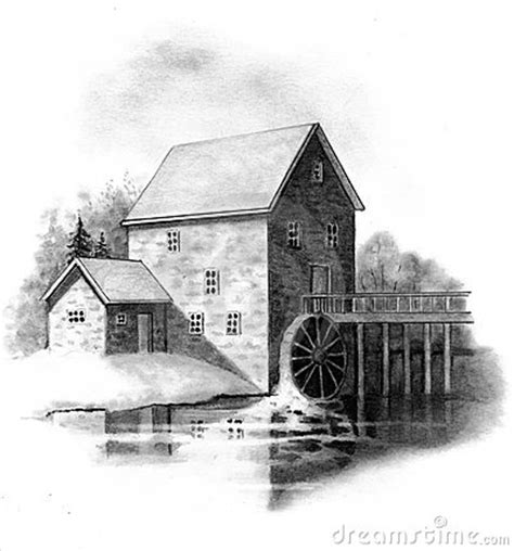 pencil drawing   stone mill stock  image