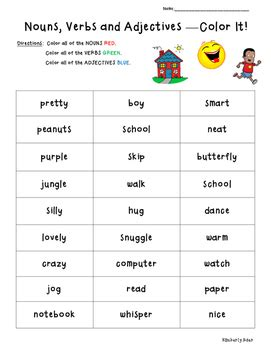 nouns verbs adjectives color coding practice worksheet by 4 little baers