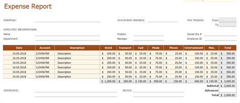 excel template employee expense report