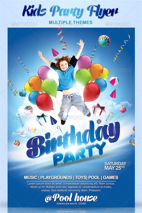 kids party flyer templates  premium