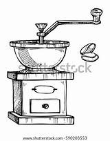 Grinder Coloring Meat Coffee Template Drawing Vector sketch template