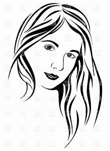 Face of young woman with long hair Royalty Free Vector ...