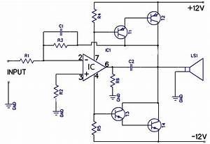 12w Amplifier Circuit Using 741 Op Amp Circuit Diagram