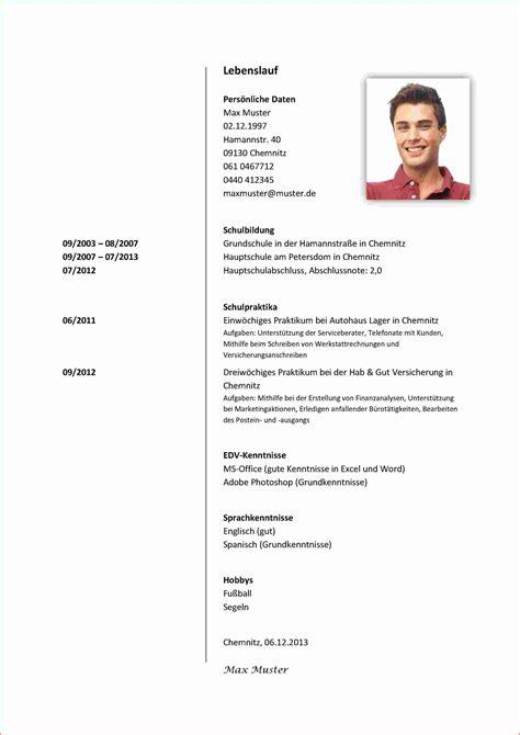 Lebenslauf Schüler by Bewerbung F 252 R Sch 252 Lerpraktikum 77 Lebenslauf Muster