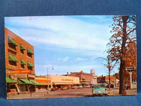 postcard mi plymouth  main street view  cars