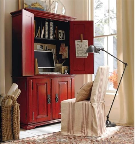 pottery barn computer desk cton smart technology office armoire desa ming red