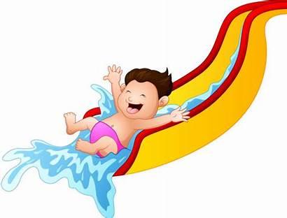 Cartoon Waterslide Boy Playing Illustration Slide Water