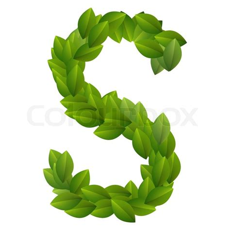 ls made from leaves letter s of green leaves alphabet stock vector colourbox
