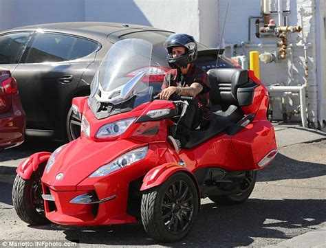 Justin Bieber Drives Three-wheel Motorcycle On The