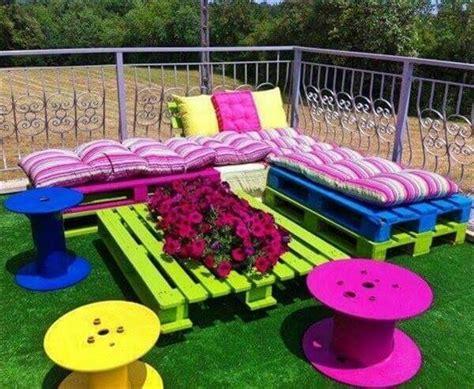 colorful backyard ideas 15 diy outdoor pallet sofa ideas diy and crafts