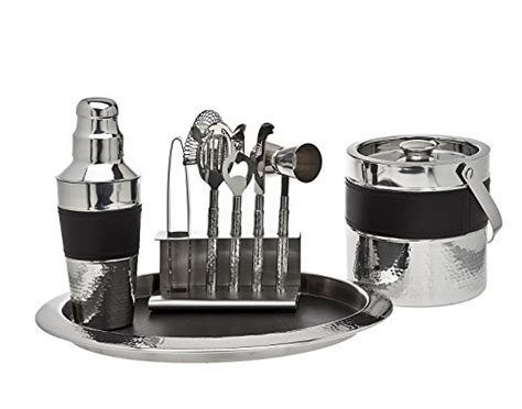 Godinger 9 Piece Leather Barware Set, Black