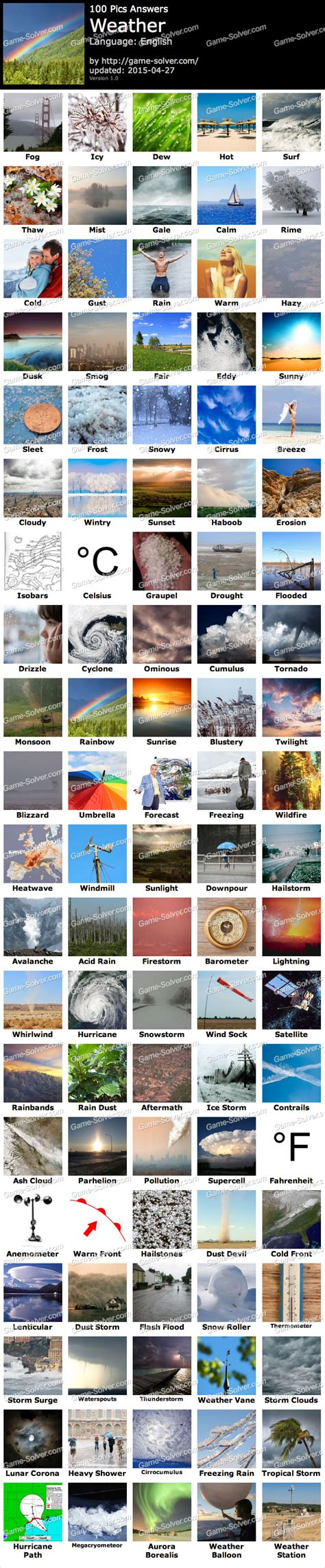 100 Pics Weather  Game Solver