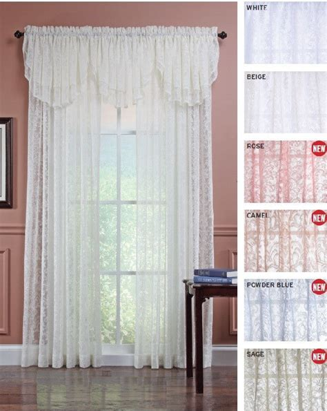 decorative sheer lace curtain panel and valance 5