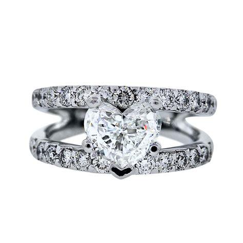 14k white gold split shank heart diamond engagement ring boca raton